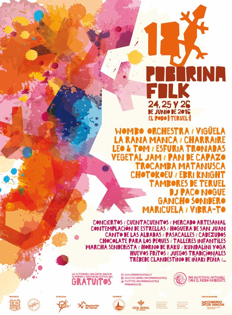 Cartel del Festival Poborina Folk 18, en el Pobo, Teruel.